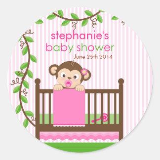 Little Monkey in a Crib Girl Baby Shower Sticker
