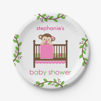 Little Monkey in a Crib Girl Paper Plate