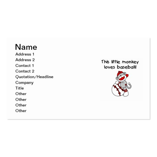 Little Monkey Loves Baseball  T-shirts and Gifts Business Card