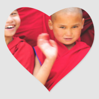 Little Monks in Red Robes Heart Sticker