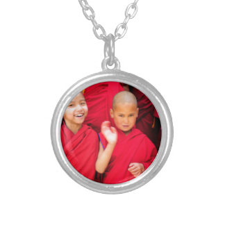 Little Monks in Red Robes Silver Plated Necklace