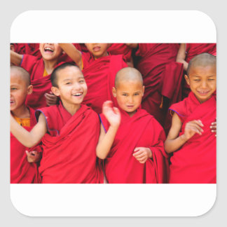 Little Monks in Red Robes Square Sticker