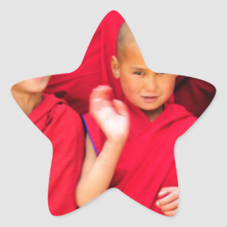 Little Monks in Red Robes Star Sticker
