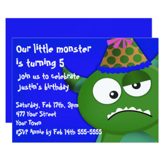 """Little Monster Birthday Party 5"""" X 7"""" Invitation Card"""
