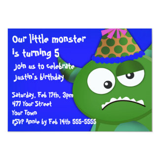 "Little Monster Birthday Party 5"" X 7"" Invitation Card"