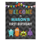 Little Monster birthday Welcome Sign Boy Chalk