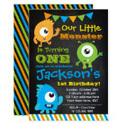 Little Monster Invitation, Chalkboard Card