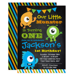 Little Monster Invitation, Chalkboard Card