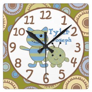 Little Monsters Peeking Baby Wall Clock