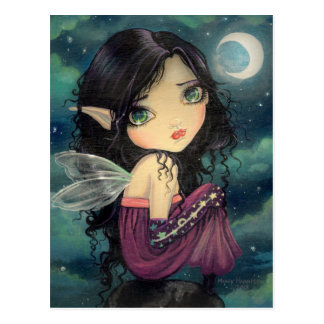 Little Moon Gothic Big-Eye Fairy Art Postcard