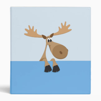 Little moose cartoon blue binder