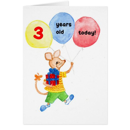 'Little Mouse' 3rd Birthday Card