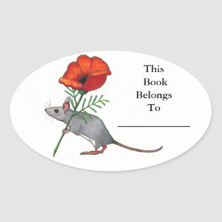 Little Mouse With Big Flower: Book Plate Oval Sticker