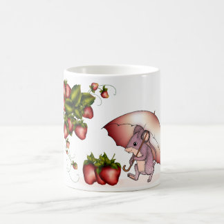 Little mouse with strawberry's mug