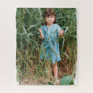 Little native girl coming out of the high grass. jigsaw puzzle