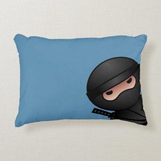Little Ninja Warrior on Blue Decorative Pillow