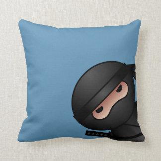 Little Ninja Warrior on Blue Throw Pillow
