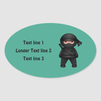 Little Ninja Warrior on Green Oval Sticker