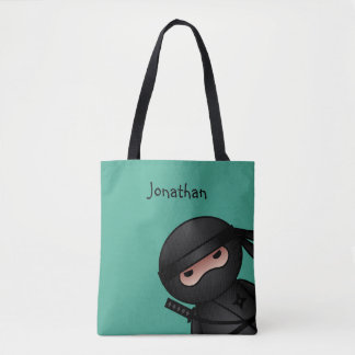 Little Ninja Warrior on Green Tote Bag