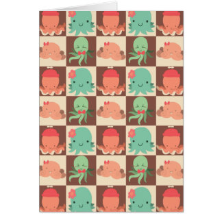 Little Octopuses Checkered Pattern Card