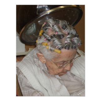 Little Old Woman Asleep Under Hair Dryer Poster