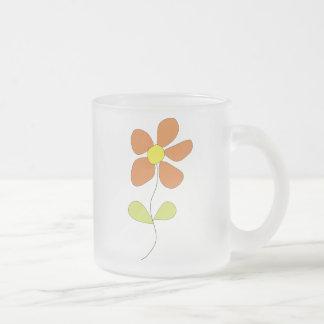 Little Orange Flower Frosted Glass Mug