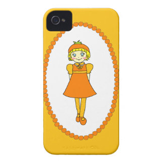 Little Orange Fruit Girl iPhone 4 Case-Mate Cases