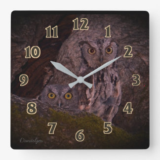 Little Owl Friends Square Wall Clock