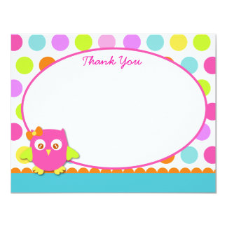 """Little Owl Thank You Note Cards 4.25"""" X 5.5"""" Invitation Card"""