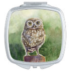 Little Owl watercolor painting Makeup Mirror