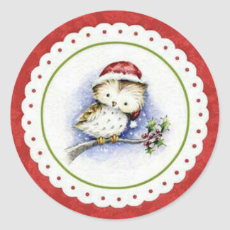 Little Owl Wearing Christmas Cap in Snowfall Classic Round Sticker