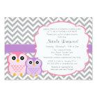 Little Owls Baby Shower Invitation, girl Card