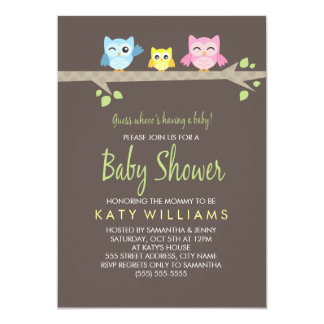 "Little Owls Baby Shower Invite 5"" X 7"" Invitation Card"