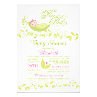 Little Pea In A Pod Girls Baby Shower Invitation