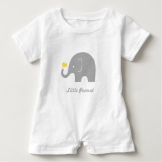 Little Peanut Elephant Baby Romper, Yellow Heart Baby Romper