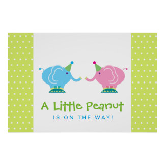 Little Peanut Elephant - Gender Reveal Baby Shower Poster
