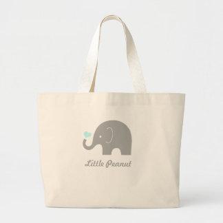 Little Peanut Elephant Tote Bag, blue heart