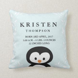 Little Penguin Baby Birth Announcement Pillow
