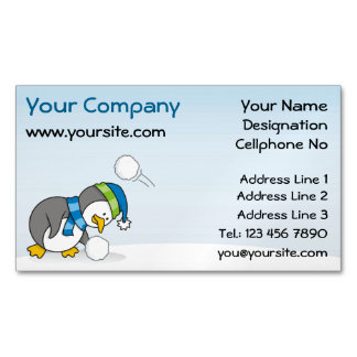 Little penguin getting a snow ball magnetic business card
