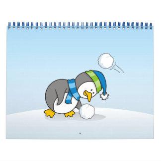 Little penguin getting a snow ball wall calendar