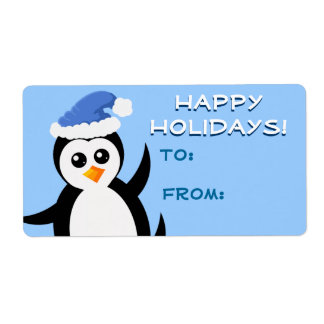 """Little Penguin"" Happy Holidays Gift Tags Shipping Label"