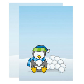 """Little penguin sitting with snowballs 4.5"""" x 6.25"""" invitation card"""