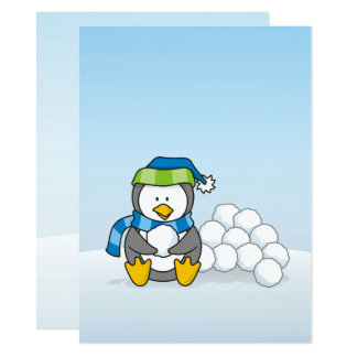 """Little penguin sitting with snowballs 5.5"""" x 7.5"""" invitation card"""