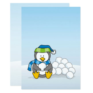 """Little penguin sitting with snowballs 5"""" x 7"""" invitation card"""
