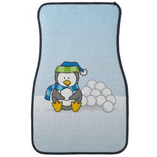 Little penguin sitting with snowballs car carpet
