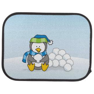 Little penguin sitting with snowballs car mat