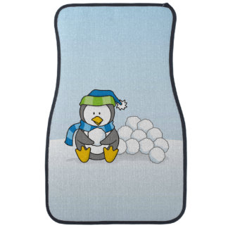 Little penguin sitting with snowballs car mat