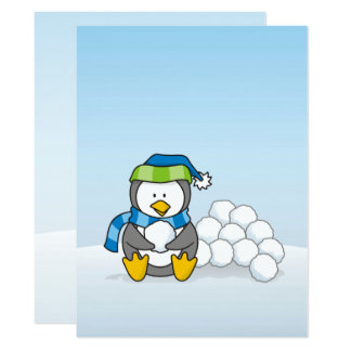 Little penguin sitting with snowballs card