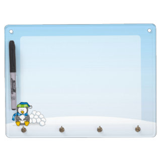 Little penguin sitting with snowballs dry erase board with keychain holder