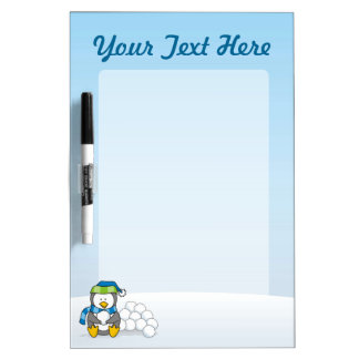 Little penguin sitting with snowballs dry erase whiteboard